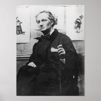 Charles Baudelaire con los grabados, c.1863 Póster