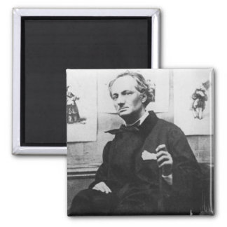 Charles Baudelaire  with Engravings, c.1863 2 Inch Square Magnet