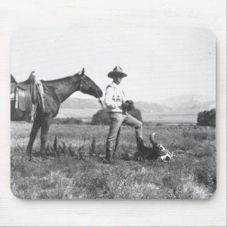 Charles Belden with horse and skull. Mouse Pad