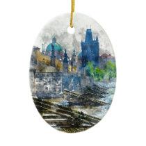 Charles Bridge in Prague Czech Republic Ceramic Ornament