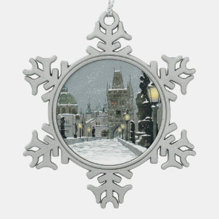 Charles Bridge Pewter Ornament at Zazzle