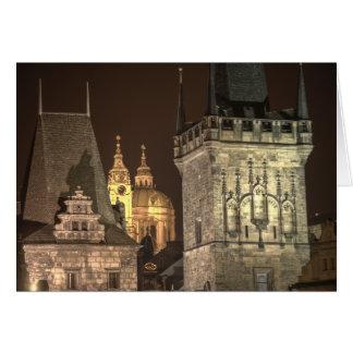 Charles Bridge Towers Prague Night Card