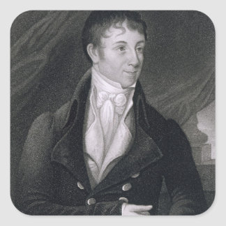 Charles Brockden Brown (1771-1810) engraved by Joh Square Sticker