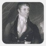Charles Brockden Brown (1771-1810) grabado por Joh Pegatina Cuadrada
