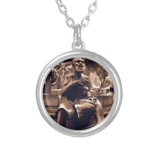 Charles Buls Statue - Brussels Round Pendant Necklace