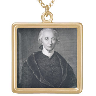 Charles Carroll of Carrollton, engraved by Asher B Square Pendant Necklace