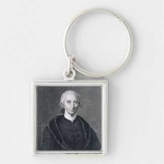 Charles Carroll of Carrollton, engraved by Asher B Silver-Colored Square Keychain