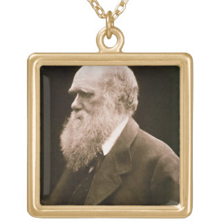 Charles Darwin (1809-82) (photo) Gold Plated Necklace