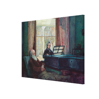Charles Darwin and his wife at the Piano Canvas Print