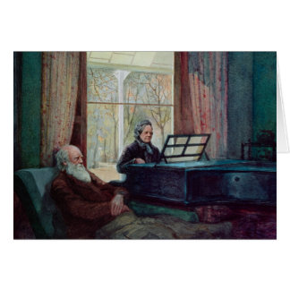 Charles Darwin and his wife at the Piano Card