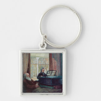 Charles Darwin and his wife at the Piano Keychain
