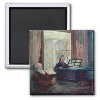 Charles Darwin and his wife at the Piano Magnet