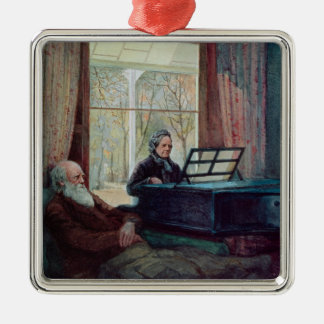 Charles Darwin and his wife at the Piano Metal Ornament