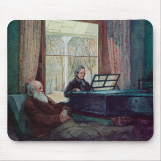 Charles Darwin and his wife at the Piano Mouse Pad