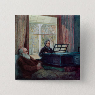 Charles Darwin and his wife at the Piano Pinback Button