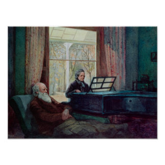 Charles Darwin and his wife at the Piano Poster