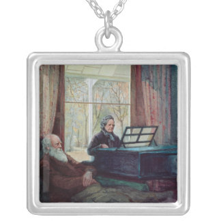 Charles Darwin and his wife at the Piano Silver Plated Necklace