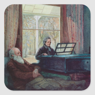Charles Darwin and his wife at the Piano Square Sticker