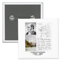 Charles Darwin (Darwin HMS Beagle Phylogenetics) 2 Inch Square Button