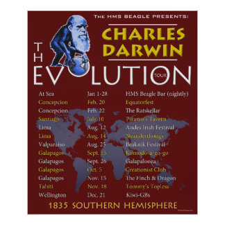 Charles Darwin 'Evolution Tour' Poster
