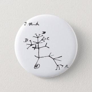 Charles Darwin - I Think (Black) Button