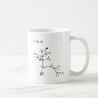 Charles Darwin - I Think (Black) Coffee Mug