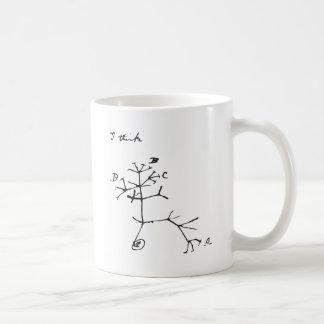Charles Darwin - I Think (Black) Coffee Mug