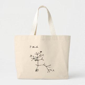 Charles Darwin - I Think (Black) Jumbo Tote Bag