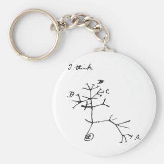 Charles Darwin - I Think (Black) Basic Round Button Keychain