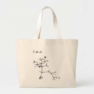 Charles Darwin - I Think (Black) Large Tote Bag
