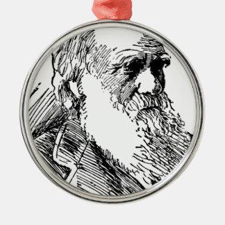 Charles Darwin Metal Ornament