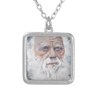 charles darwin - oil portrait silver plated necklace