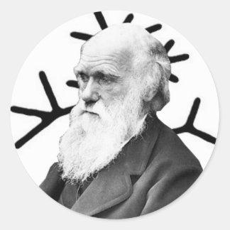 Charles Darwin Pegatina Redonda