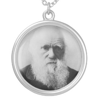 Charles Darwin Portrait by Elliott and Fry Round Pendant Necklace