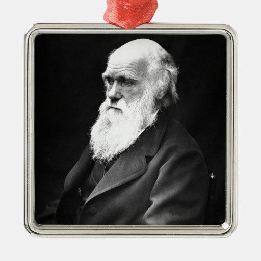 Charles Darwin Portrait Square Metal Christmas Ornament