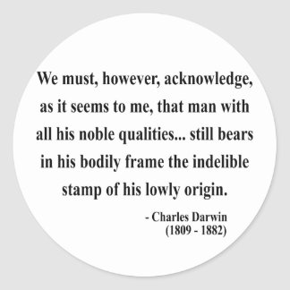 Charles Darwin Quote 1a Classic Round Sticker