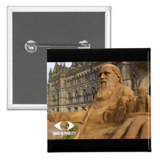 Charles Darwin Sand Sculpture Badge 2 Inch Square Button