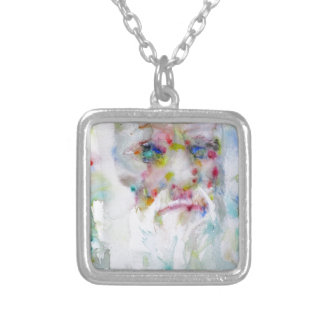 charles darwin - watercolor portrait silver plated necklace