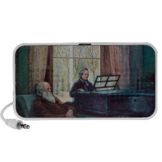 Charles Darwin y su esposa en el piano iPhone Altavoces