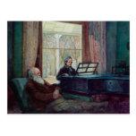 Charles Darwin y su esposa en el piano Tarjetas Postales