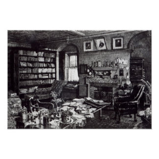 Charles Darwin's study at Down House, 1882 Poster