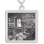 Charles Darwin's study at Down House, 1882 Square Pendant Necklace
