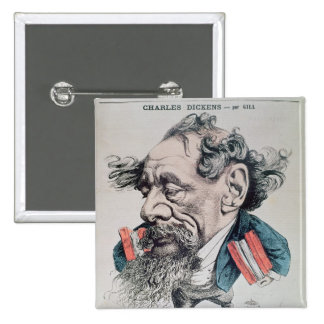 Charles Dickens a horcajadas en el canal inglés Pin Cuadrada 5 Cm