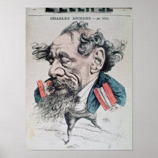 Charles Dickens a horcajadas en el canal inglés Póster