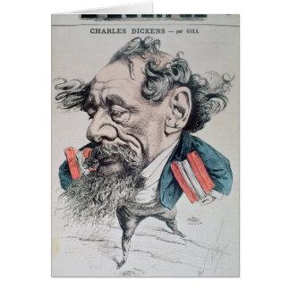 Charles Dickens a horcajadas en el canal inglés Tarjeta De Felicitación