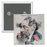 Charles Dickens astride the English Channel 2 Inch Square Button