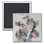 Charles Dickens astride the English Channel 2 Inch Square Magnet