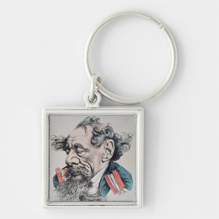 Charles Dickens astride the English Channel Keychain