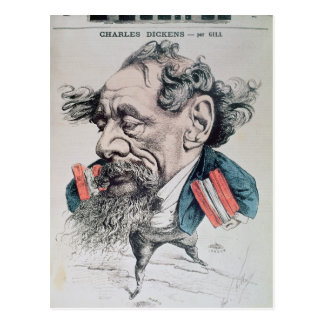 Charles Dickens astride the English Channel Postcard