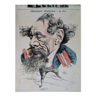 Charles Dickens astride the English Channel Poster